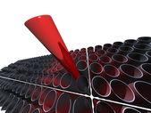 一大红色管上面许多其他灰色管道 — 图库照片