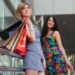 Stock Photo: Young women with shopping bags