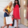 Two young women with shopping bags - Stockfoto