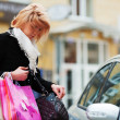 Shopper on a car parking — Stock Photo #6866283