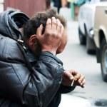 Homeless man in despair — Stock Photo