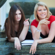 Stock Photo: Two young female students