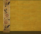 Flower Bamboo Banner on Yellow Ribbed Wood — Stock Photo