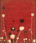 Kırmızıya soluk çayır çiçek siluet — Stok fotoğraf
