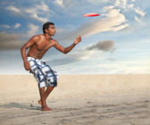Freestyle Flying Disc Sports Player — Stock Photo