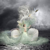 Sea Nymph and Water Birds Fairytale — Stock Photo