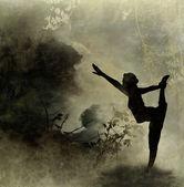 Hintergrund von yoga-kunst auf leinwand — Stockfoto