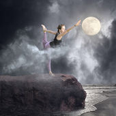 Yoga in the Moonlight — Stock Photo