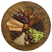 Mixed Spices on a Wooden Chopping Board — Stock Photo