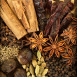 Spices on wood - Foto Stock