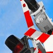 Railway crossing warning — Stock Photo