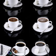Collage of various coffee cups on black. — Stock Photo #6911698