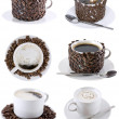 Collage of various coffee cups. Isolated - 图库照片