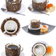 Collage of various coffee cups. Isolated - Zdjęcie stockowe
