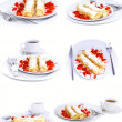 Collection-pancakes with rolled fruit.Isolated - Stock Photo