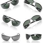 Collection of black men sunglasses. — Stock Photo
