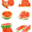 Collage of watermelon on white, isolated — Stock Photo