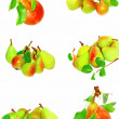 Stock Photo: Collection of pears and green leaf. Isolated
