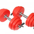 A sporting equipment - two red dumbbells. Isolated — Stock Photo #6911853