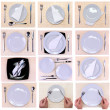 Collage (collection) of glasses, plates, covers on various bamboo mat. — Stock Photo