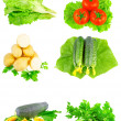 Stock Photo: Collage of vegetables on white background.