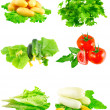 Collage of vegetables on white background. — Stock Photo