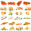 Collage of vegetables . Isolated - Stock Photo
