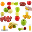 Collaje of fruits, juce. Isolated - Stock Photo