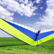 Motorized hang glider over green grass — Stock Photo #6912229