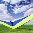Motorized hang glider over green grass — Stock Photo #6912306