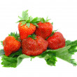 A heap of strawberries on green foliage. Isolated — Stock Photo