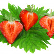 Three fresh strawberries. Isolated - Stock Photo