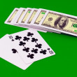 "The dice and playing cards - ""Pip- 21"" on green — Stock Photo"