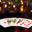 Dice and playing cards- poker royal flesh. - Stock Photo