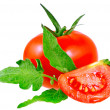 Lush tomatos with green leafs. Isolated — Stock Photo #6913418