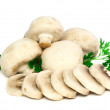 Mushroom champignon with green parsley .Isolated — Stock Photo #6913452