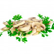 mushroom champignon with green parsley .isolated — Stock Photo