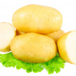 Young potatoes, decorating of lettuce . Isolated — Stock Photo