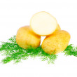 Young potatoes, decorating of dill . Isolated - Stock Photo