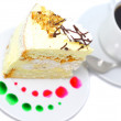 Sponge cake and  cup of coffee. Isolated - Stock Photo