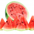 Half of watermelon with juicy slice, isolated. - Stock Photo