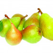 Heap of pear with stem and green leaf. Isolated. - Stock Photo
