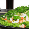 Salad-shrimps, lettuce and fizz drink. Isolated — Stock Photo