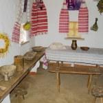 intérieur d'une cabane d'ukrainien une pièce, typique — Photo