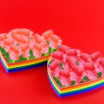 Single hearts, paint of a six-colour gay flag. — Stock Photo