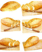 Collection, set fresh cutting bread. Isolated — Stock Photo