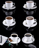 Collage of various coffee cups on black. — Stock Photo