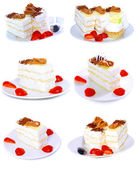 Various cakes with fruits, strawberrys. Isolated — Stock Photo