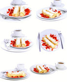 Collection-pancakes with rolled fruit.Isolated — Stock Photo