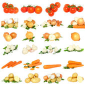 Collage of vegetables . Isolated — Stock Photo